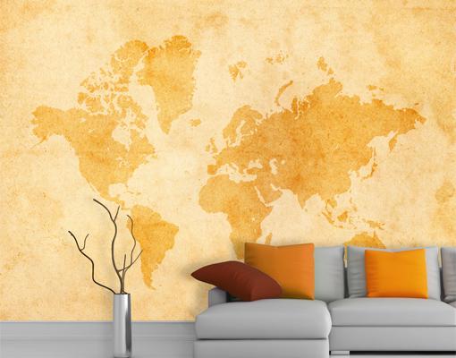 weltkarte tapete vintage. Black Bedroom Furniture Sets. Home Design Ideas
