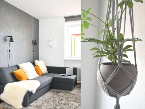 Pretty in grey unser wohnzimmer plus diy blumenampel for Diy wohnzimmer